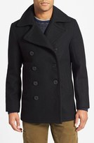 Schott NYC Men's Slim Fit Wool Blend Peacoat