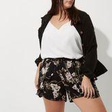 River Island Womens Plus Black floral pom pom hem shorts