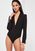Missguided Black Plunge Wrap Long Sleeve Bodysuit