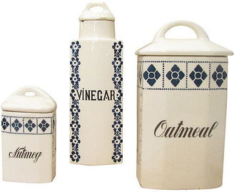 One Kings Lane Vintage Blue & White Canisters - Set of 3 - Chez Vous