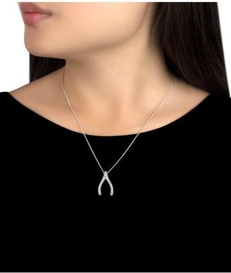 Love Gold 9ct White Gold Diamond Wishbone Pendant Necklace