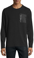 Ovadia & Sons Satin Zip-Pocket Long-Sleeve T-Shirt, Black