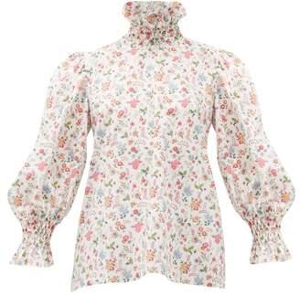 Horror Vacui Collia Floral-print Smocked Cotton Top - Womens - White Multi