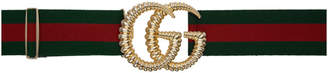 Gucci Green and Red Torchon GG Elastic Belt