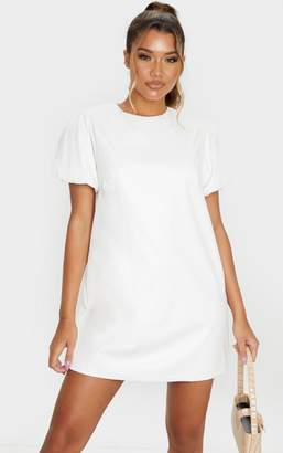 PrettyLittleThing White Faux Leather Puff Sleeve Shift Dress