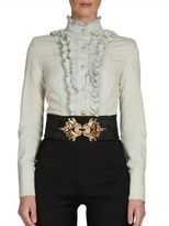 Balmain Ruffled Denim Blouse