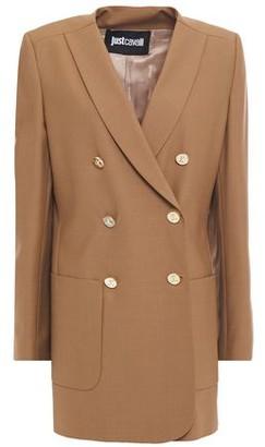 Just Cavalli Double-breasted Faux Leather-trimmed Grain De Poudre Blazer