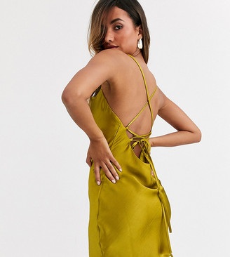 Asos Design DESIGN cami mini slip dress in high shine satin with lace up back