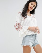 Free People Chiquita Embroidered Long Sleeved Blouse