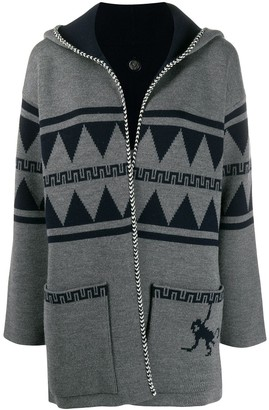 Alanui Hooded Patterned Knit Cardigan