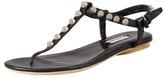 Balenciaga Nickel Studded Thong Sandal, Black
