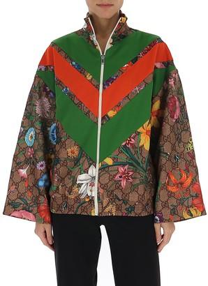 Gucci GG Supreme Floral Print Zipped Jacket