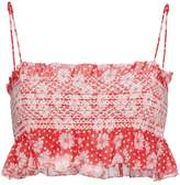 Lisa Marie Fernandez Selene Smocked Floral Crop Top
