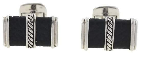 David Yurman 925 Sterling Silver & Black Leather Cable Cufflinks