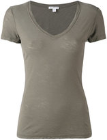 James Perse plunging V-neck T-shirt - women - Cotton - 0