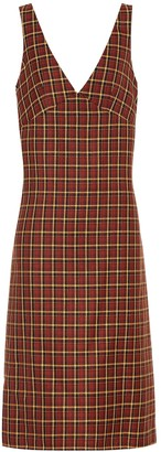 Plan C Checked wool midi dress