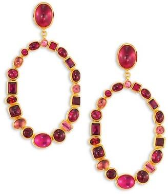 Gurhan Amulet Hue Large Multi-Stone & 24K Yellow Gold Drop Earrings