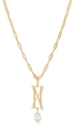 Simone Rocha Initial-pendant Gold-plated Necklace (n-z) - Gold Multi