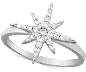 Essentials Cubic Zirconia Starburst Ring in Fine Silver-Plate