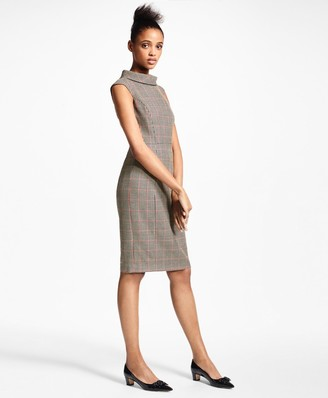 Brooks Brothers Checked Wool Sheath Dress