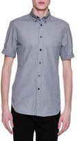 Alexander McQueen Chambray Short-Sleeve Woven Shirt, Gray