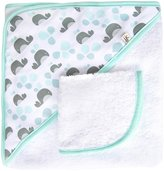 JJ Cole Hooded Towel and Washcloth Set - Aqua Whales - One Size