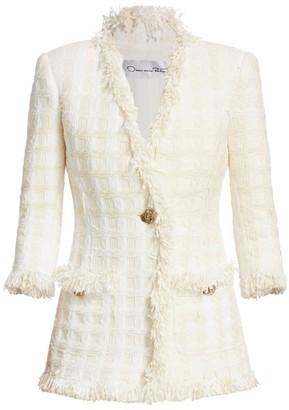 Oscar de la Renta Tiered Tweed Single Button Jacket