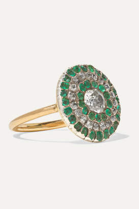 Fred Leighton 1800s Silver-topped Gold, Diamond And Emerald Ring