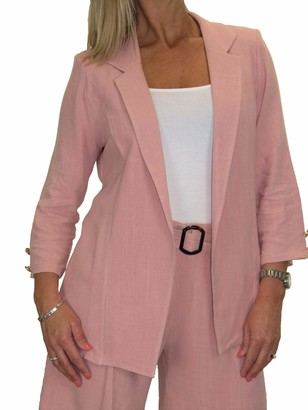 Icecoolfashion Women's Soft Lightweight Linen Blazer Jacket Open Front Formal Smart Tailored Occasion Summer Evening Wedding 3/4 Sleeve Pink 10-22 (18)