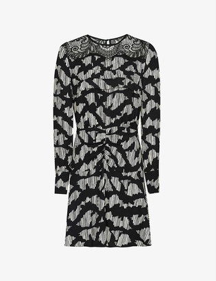 Reiss Miya lace-trimmed crepe mini dress