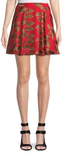 Alice + Olivia X Donald Robertson Blaise Cheetah Lips Trapeze Mini Skirt