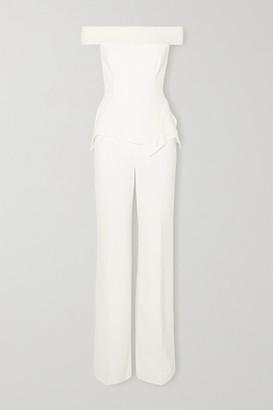 Roland Mouret Danielson Off-the-shoulder Crepe Peplum Jumpsuit - White