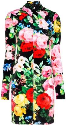 Richard Quinn Twisted Neck Floral Mini Dress