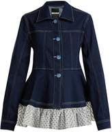 House of Holland Polka-dot ruffle-embellished denim jacket