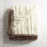 Pier 1 Imports Ivory Cable-Knit Faux Fur Trim Throw