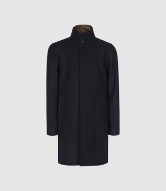 Reiss Hawnby - Overcoat With Removable Insert in Navy