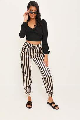 I SAW IT FIRST Gold Satin Stripe Print Cuffed Jogger