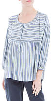 Max Studio 3/4 Sleeve Stripe Blouse, Blue/White