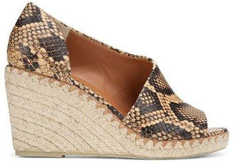 Vince Sonora Peep-Toe Snakeskin-Embossed Leather Espadrille Wedge Sandals