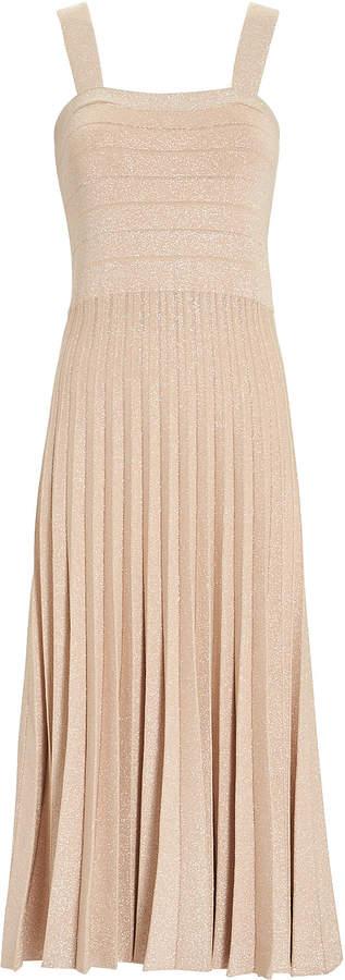 Derek Lam 10 Crosby Pleated Lurex Knit Dress