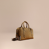 Burberry Textured Suede And House Check Detail Holdall, Green
