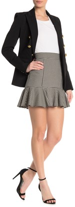 Veronica Beard Houndstooth Ruffle Hem Mini Skirt
