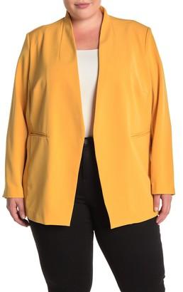 Bagatelle Open Front Crepe Blazer (Plus Size)