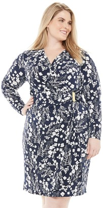 Chaps Plus Size Gathered Side Faux-Wrap Dress