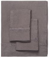 Melange Home Belgian Linen Two-Stripe Embroidered Sheet Set