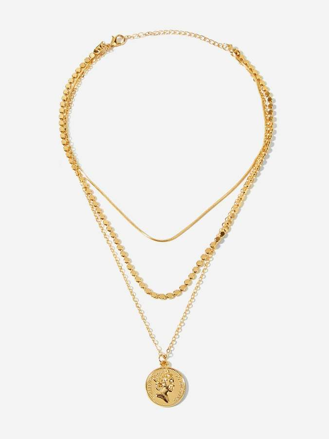 baa824e7a9 Gold Coin Layer Necklace - ShopStyle