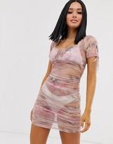 Motel ruched mesh milkmaid dress in unicorn print
