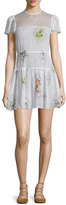 RED Valentino Short-Sleeve Framed-Floral Mini Dress, Latte
