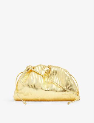 Bottega Veneta Pouch drawstring metallic leather clutch bag