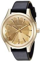 Karl Lagerfeld Women's 'Janelle' Quartz Stainless Steel and Leather Casual Watch, Color:Black (Model: KL1617)